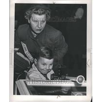 1949 Press Photo Mom Watches Boy Play with Toy - RRR45097