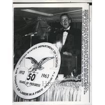 1963 Press Photo Sec of Labor Address Celebration Dinner of 50th Anniversary