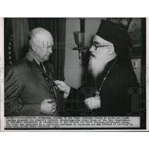 1923 Press Photo Archbishop Presents Churchs Grand Cross to President Eisenhower