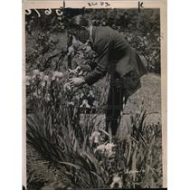 1921 Press Photo French boxer Georges Carpentier admiring flowers - net18533