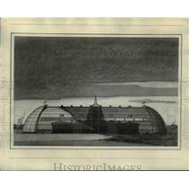 1929 Press Photo Sketch of Goodywar Zeppelin airship factory at Akron Ohio