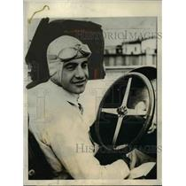 1925 Press Photo Peter De Paolo drives a Dusenberg at 500 mile race in 4 hr 56 m