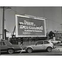 1980 Press Photo Billboard of Duane Berentson For Governor - spa31441