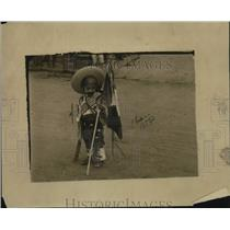 1921 Press Photo Mexican Child holding Flag During Independence Carnival