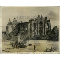 1927 Press Photo France Church Destroyed During War in Peranne in Somme Region