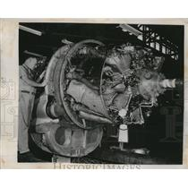 1952 Press Photo Plane Engine at Pan American World Airways, Miami, Florida