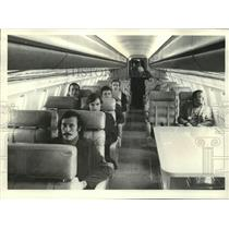 1976 Press Photo Passengers who all pay first-class-plus rates get narrow seats