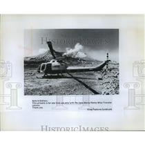 1983 Press Photo A helicopter stands by to take tourists - weather and volcano