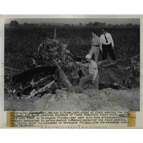 1943 Press Photo Wreckage of Jimmy DeSanto's Plane at National Air Races, Ohio