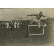 1918 Press Photo Man jumps hurdles at Great Lakes Naval Training School