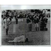 1968 Press Photo Latvian stuntman Adrian Laban hurt in 50 foot fall in Munich