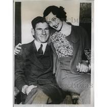 1934 Press Photo Arthur Pinky Whitney of Boston Braves & bride Audrey Boyd