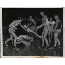 1949 Press Photo Players fight in game between Marshall and Chicago Vocational