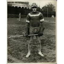 1929 Press Photo Milton C James captain of lacrosse at NY University