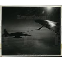 1973 Press Photo Canadian Forces CF-5 Plane Refueling from Tanker Over Quebec