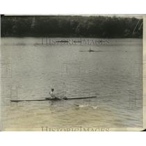 1928 Press Photo Otto Schoenfeld Jr. wins Single Sculls, Olympic Tryouts