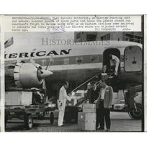 1961 Press Photo Trans Australia Airlines Flight 408 Cargo Loaded in Miami