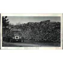 1984 Press Photo A truck checks the cargo of pulpwood leaving Wausau Paper Mills