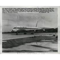 1959 Press Photo Douglas DC-8 Jet Airliner Plane at Idlewild Airport - ney19345