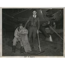 1937 Press Photo Arctic Aviators Charles Gropstis, Corey C. Brayton Jr.