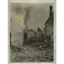 1918 Press Photo Smoking Ruins of General Foy Street in France - ney19020