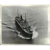 "1934 Press Photo Cunard Liner Ship ""Aurania"" - ney21381"