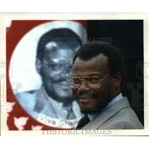 1884 Press Photo Mangosuthu Buthelezi before portrait at Zulu supporter rally