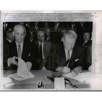 1962 Press Photo Steel Neg C Cooper and D McDonald Finishing Steel Contract