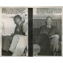 1957 Press Photo President Eisenhower boarded on Marine Helicopter - nef10288