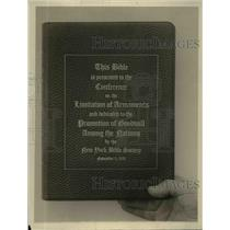 1921 Press Photo Bible Presented To Conference On The Limitations Of Armaments
