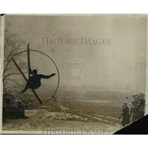 1927 Press Photo A skier makes a jump on the slopes - net20266
