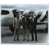 1976 Press Photo Pilots James E Bir, LL Purkey & Arnold Palmer with Yankee plane