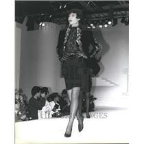1990 Press Photo Franklin Chu Velvet Jacket Jewel Black - RRR51569