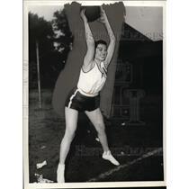 1937 Press Photo Ella Kacourek of Omaha Nebraska Heaving A Medicine Ball