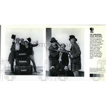 1997 Press Photo Harpo, Groucho and Chico Marx on The Unknown Marx Brothers.