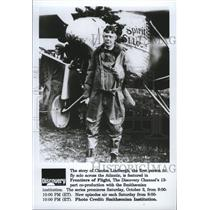1992 Press Photo Charles Lindbergh is profiled in Frontiers of Flight.