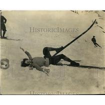 1922 Press Photo Skier at Midsummer Ski tournament at Mt Rainier WA - net22844
