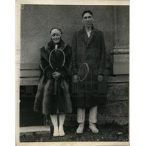 1925 Press Photo Mrs JB Jessup & Karl Pfaffman at Indoor National Tennis
