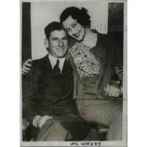 1934 Press Photo Arthur Pinkey Whitney of Boston Braves & bride Audrey Boyd