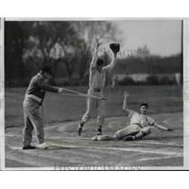 1955 Press Photo Frank Kozel coach of Alleman HS baseball with Ron Gens