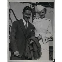1934 Press Photo Mr & Mrs Billy Sullivan Jr White Sox catcher on honeymoon
