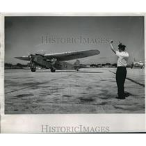 1963 Press Photo Crewman gave instructions to pilot of old Ford trimotor
