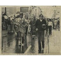 1972 Press Photo Attendees in Football Attire at the Mardi Gras Parade