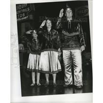 1955 Press Photo Maskers Salute at Mardi Gras, New Orleans - noca00958