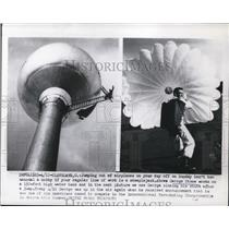 1956 Press Photo George Stone worked on a 150 foot water tank in Ohio
