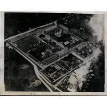 1935 Press Photo Kansas State Penitentiary Aerial View after Prisoner Strike