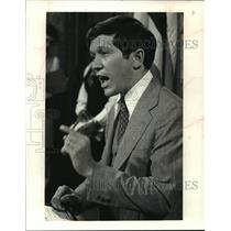 1979 Press Photo Dennis Kucinich Gesturing During a Meeting. - mja38356