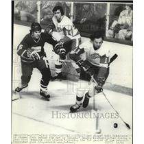 1977 Press Photo Red Wings Walt McKechnie vs Canucks Dennis Kearns - net26271