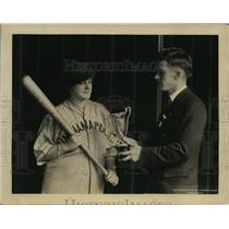 1925 Press Photo Jessie M Murphy wins Union Printers Baseball cup from A Hewson