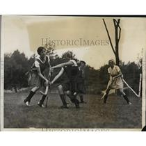 1931 Press Photo Field hockey scrimmage held by business women, Camp Carroll